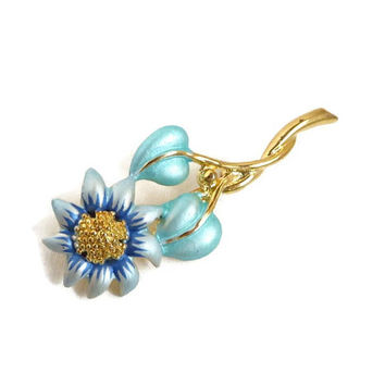 Vintage Enameled Gold Tone Brooch - Daisy Flower Enameled Pin,  Matte Blue Green Flower Gift Idea