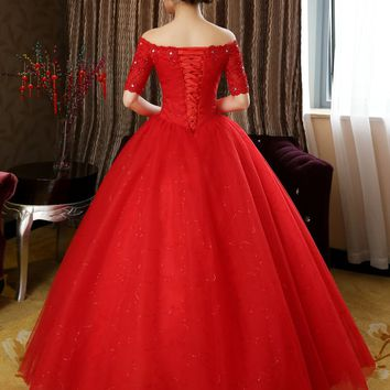Design Half Sleeves Red White Wedding Dresses Princess Lace Wedding Gowns Wedding Frocks