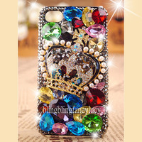 iPhone 4 case - best iphone 4 case - Colorful diamond iPhone 4 Case - Luxury crown unique iphone 4 case - Bling iphone 4 case iphone 4 cover