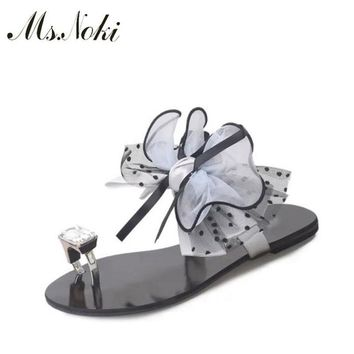 Ms. Noki floral sweet sandals women Crystal flat sandals women 2017 summer ankle strap