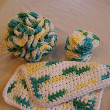 Crocheted Cotton Spa Bath Set : Shower Puff, Washcloth, Facial Rounds