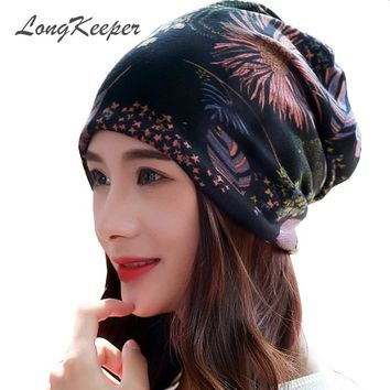 LongKeeper New Women Hat Polyester Adult Casual Floral Women's Hats Spring Female Cap Scarf 3 Colors Fashion Beanies