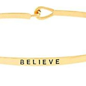 Inspirational Bracelet BELIEVE Quote Positive Message Engraved Thin Brass Bangle  Motivational Mantra Phrase Jewelry Gift for Women Teen Girls
