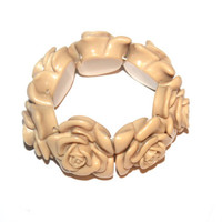 Large Chunky Carved Lucite Rose Bracelet, Stretch Expandable, Antique Alchemy