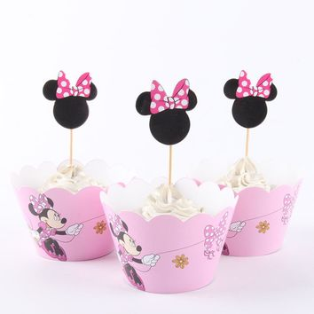 24pcs/lot Pink Minnie Cartoon Paper Cupcake Wrappers Toppers For Kids Party Birthday Decoration Cake Cups(12 wraps+12 topper)