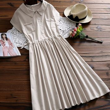 Japanese Mori Girl Vintage Ethnic Retro Bohemian Rockabilly Boho Denim Striped Cotton Linen Loose Plus Size Women Summer Dress