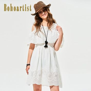 Bohoartist Shift Dress Pattern Cold Shoulder Insert Contrast Print Streetwear Women A-Line Party 2017 Summer Chic White Sundress