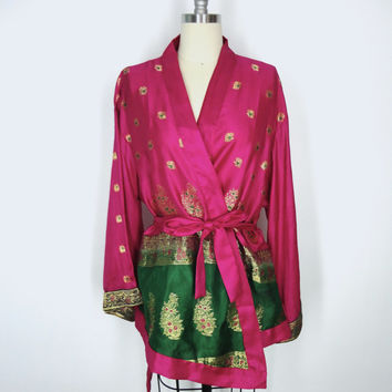 Silk Kimono / Festival Jacket / Hand Made Vintage Indian Sari / Magenta Pink Green Gold / Limited Edition