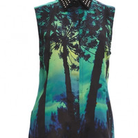 Barbara Bui Silk Sleeveless Blouse With Palm Tree
