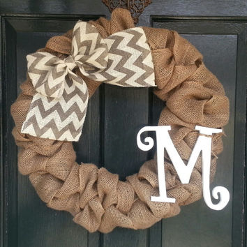 Burlap Wreath with Gray Chevron Burlap Bow- Front Door Wreath- Monogram Wreath-Wedding Decoration- Wedding Gift-