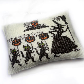 Halloween decor ornament evil witch pillow, Primitive country decorative pillow, Completed cross stitch, fall dark brown decor, funny decor
