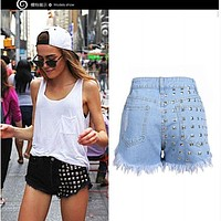Free shipping top quality high hip Hole rivets cowboy women's denim short ladies short jeans