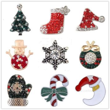 10pcs/lot Mix Christmas rhinestone Snap Button Jewelry Ginger Snaps 18mm Christmas Gift Snaps Fit Charm Bracelet Jewelry KB4403