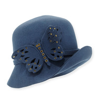 Papillon Butterfly-Detail Wool Cloche, Size: ONE SIZE,