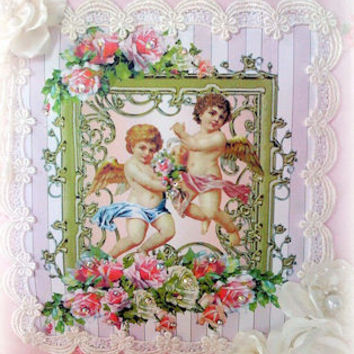 Twin Cherubs  Crystal Roses  Victorian Pillow