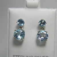 6ctw Double Dangle Drop Blue Topaz Sterling Silver earrings December birthstone