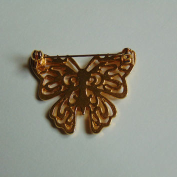 Vintage Gold tone Butterfly Pin, Brooch, Lapel