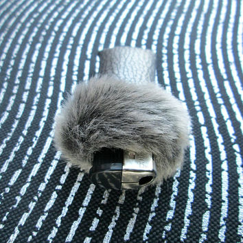 Elegant Glam Womens Furry Lighter Cover, Grey Fur Luxury Lighter Case, Faux Fur, 90s Fuzzy Bic Lighter Cover, Gray Grey, Smoking Accessory