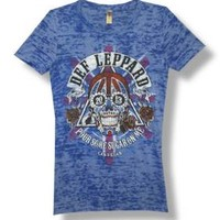 "New! Def Leppard ""Pour Some Sugar On Me"" Licensed Juniors Burnout T-Shirt"