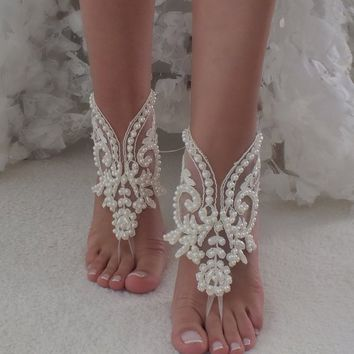 b83e7ced643282 EXPRESS SHIP Beach Wedding Barefoot Sandals ivory lace barefoot sandals  beach shoes Bride Shoe Bridal Accessories
