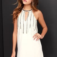 Chasing Waterfalls Beaded Cream Dress