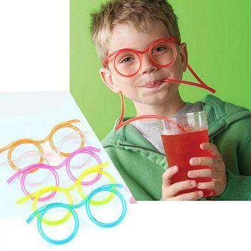 Funny Soft Drinking Straw Eye Glasses Novelty Toy Party Birthday Gift Child Adult DIY Straws Bar Accessories glasses straw
