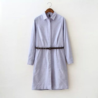 Sky Blue Collar Long Sleeves Waist Pocket Loose Mini Denim Dress