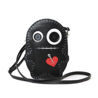 Cute Little Spooky Black Stitched Voodoo Doll Cross Body Bag Purse