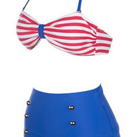 Striped Pin-Up High Waist Bikini