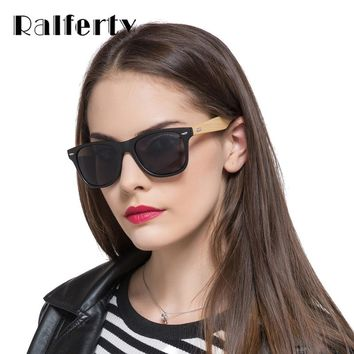 Ralferty Retro Bamboo Sunglasses Women Men Mirrored Wooden Frame Sun Glasses Anti UV Goggles