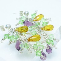 Peridot Swarovski Crystal Citrine Amethyst Faceted Briolette Earrings