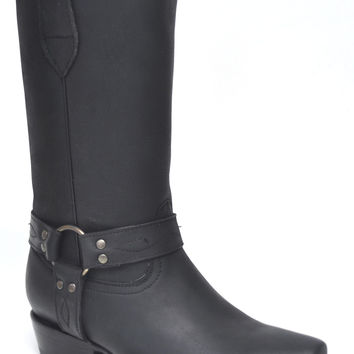 Gavel Handcrafted Women's Black Crazyhorse Square Toe Harness Western Boots