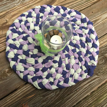 Unique Dining Table Centerpiece, Country Style Braided Rag Rug Centerpiece, Upcycled Home Decor, Rag Rug Home Accent, Country Dining Table