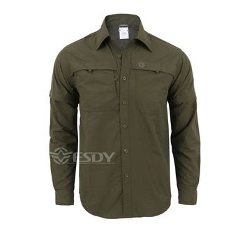 ESDY Summer  Military Combat  shirt outdoor  Quick-dry  breathable  men shirt long Sleeve&leg detachable two parts