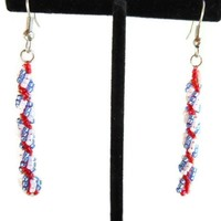 Red, White and Blue Spiral Rope Stitch Earrings