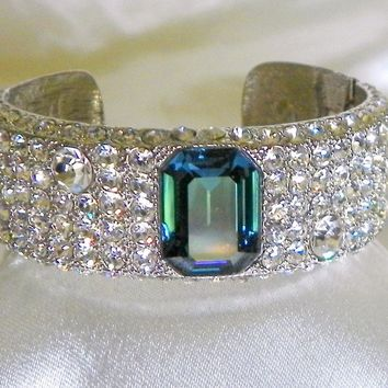 KJL Kenneth Jay Lane Swarovski Crystal Hinged Cuff Bracelet 1980s