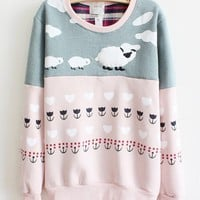 Pink Cartoon Small Coat Color Cotton Sweater