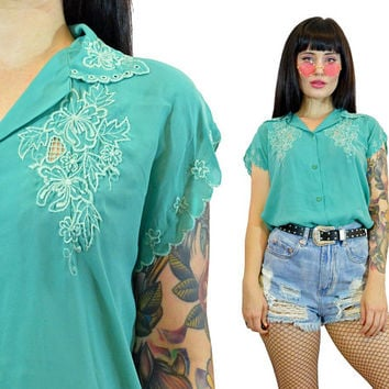 vintage 80s teal eyelit blouse cutout pastel button up secretary shirt hippie boho romantic top floral embroidered medium