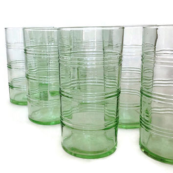 Vintage Martha Stewart Tumblers-Depression Glass-Green Banded Tumblers-Set of 8-Tall Glasses-Retro Kitchen