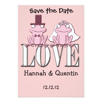 funny cute cartoon save the date wedding frogs 5x7 paper invitation card