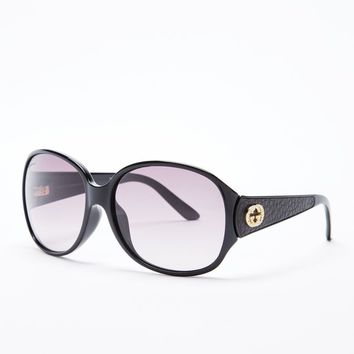 Gucci GG3623NKS-D28 Oversized Shiny Black Frame w/Crystals Gradient Sunglasses.