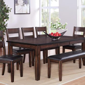 6 pc Maldives dark wood finish dining table set with vinyl upholstered chairs