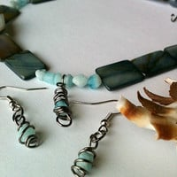 Blue Shell and Wire Wrap Stone Necklace Set Mother Of Pearl Steel Blue Artisan Handmade Jewelry Natural Stone Wire Wrapped