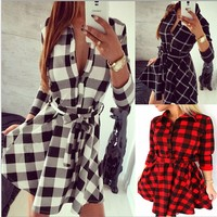 Women's Dress Shirt With Lattice Bodycon Dress Tops Three Quarter Sleeve Dress
