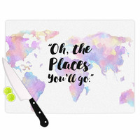 "Kess Original ""The Places You'll Go "" Purple Yellow Cutting Board"