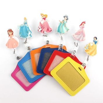 2017 lovely princess Retractable Badge Reel horizontal Style Student Nurse Exihibiton ID Name Card Badge Holder Office Supplies