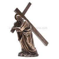 Jesus Carrying the Cross Statue, Bronze Finish - 7396