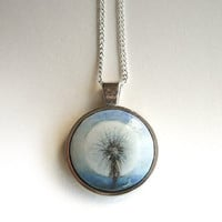 Real Dandelion Painting - Wood Jewelry  -  Necklace Dandelion - Hand Painted Pendant - Cobalt Blue