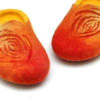 Flaming felted slippers Orange red yellow by jurgaZa on Etsy