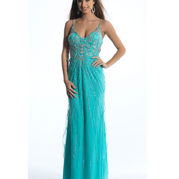 Dave & Johnny  Turquoise Spaghetti Strap Sequin Dress 2015 Prom Dresses